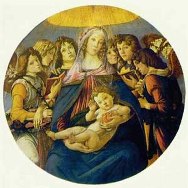 madonna of the pomegranate madonna and child and six angels c1487 XX galleria degli uffizi florence